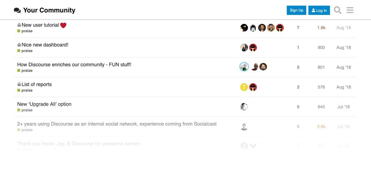 Discourse forum on a desktop browser